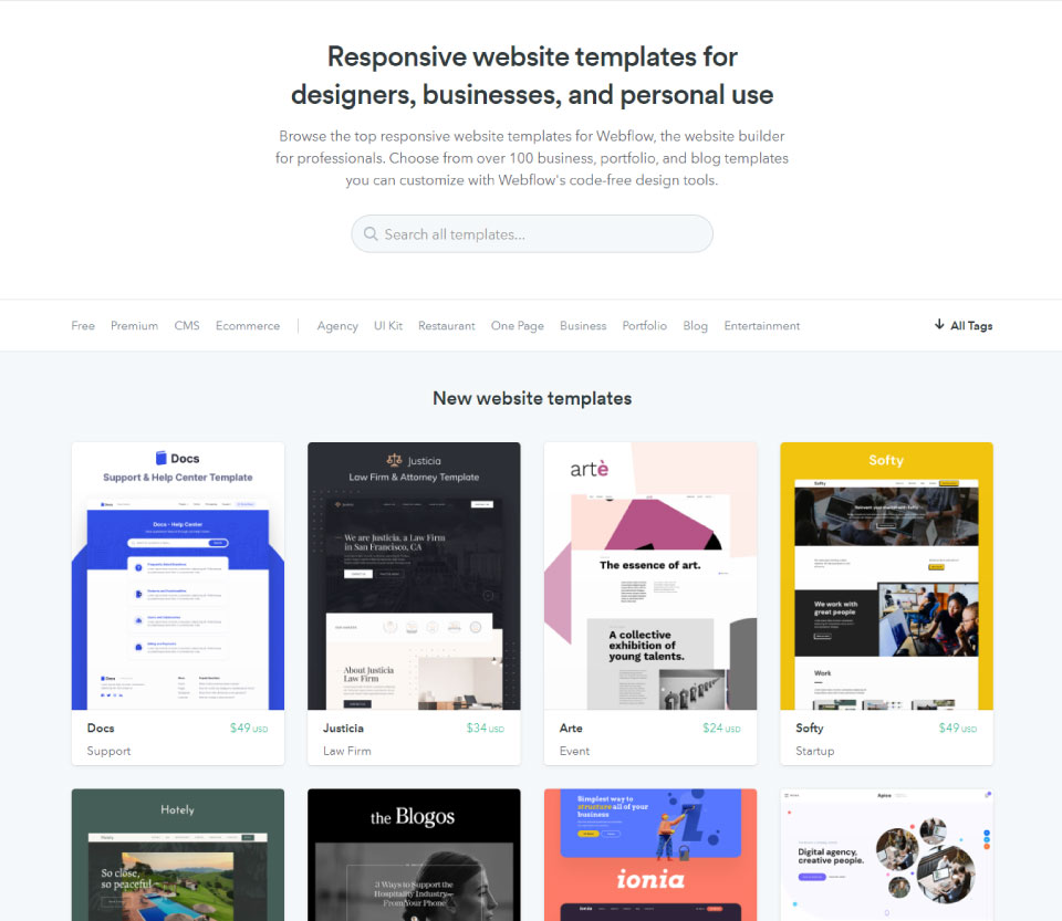 Library of Webflow Themes