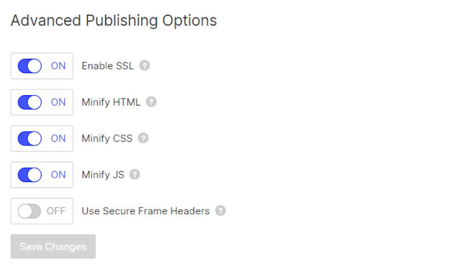 Webflow Minify HTML options