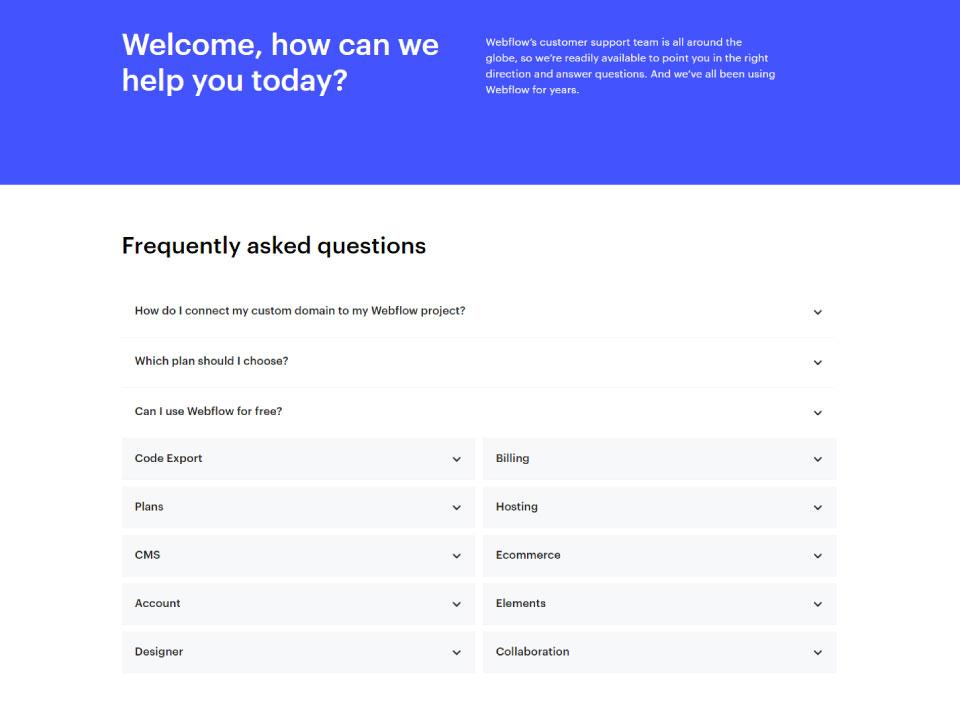 Webflow Support FAQ