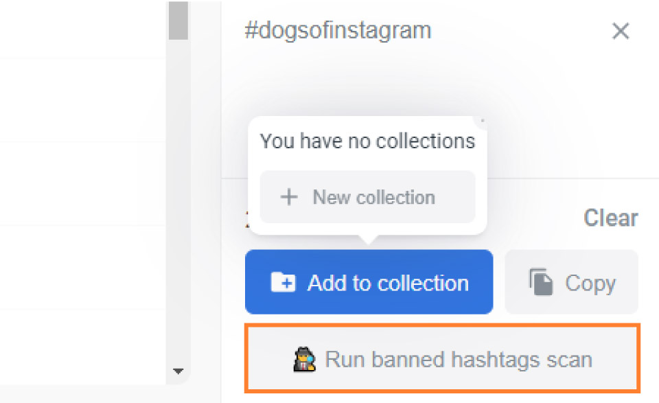 Flick Banned Hashtags Scan Button