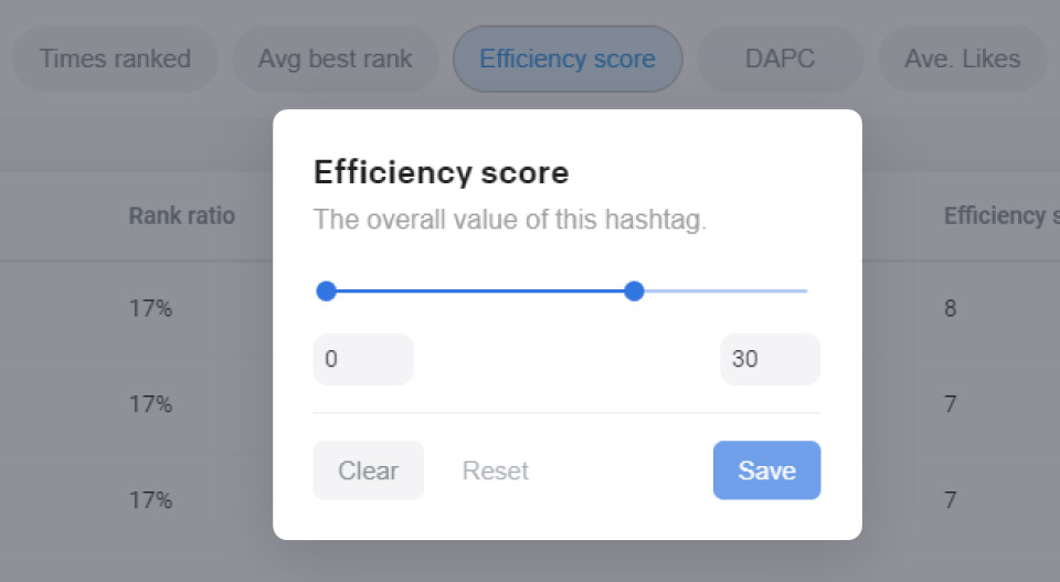 Setting Efficiency score to 0-30 in Flicks hashtag filters