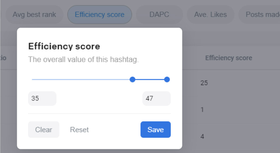 Flick efficiency score hashtag filter settings