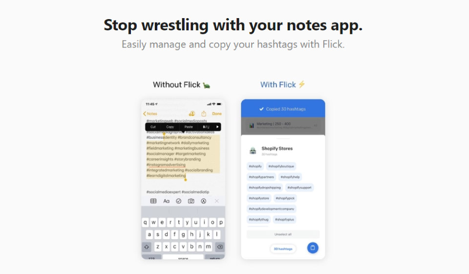 Flick app comparison to using a notes app