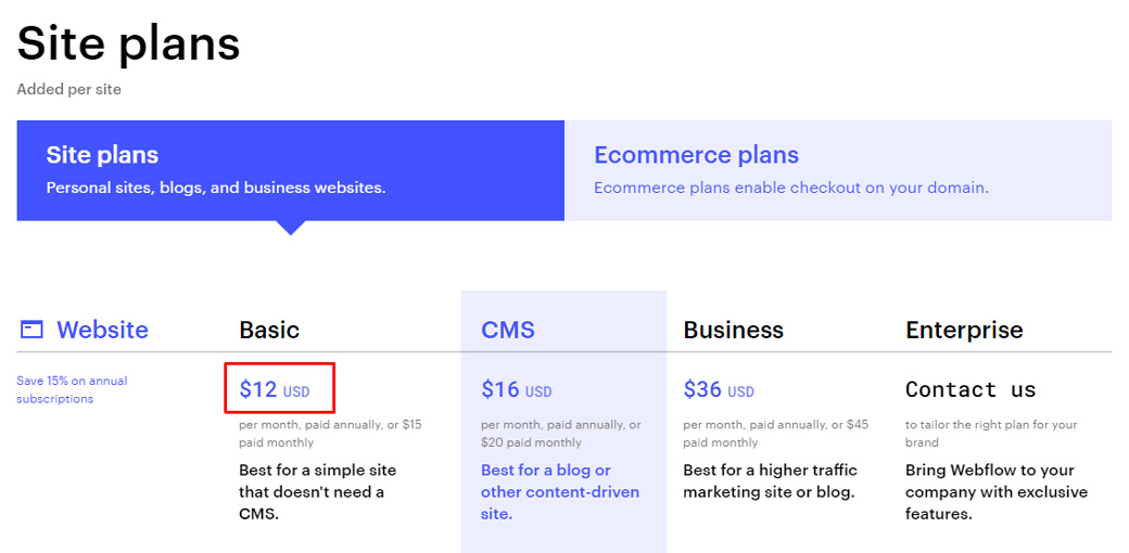 Webflow Site Plans