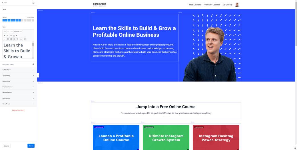 Kajabi's Page Builder Interface