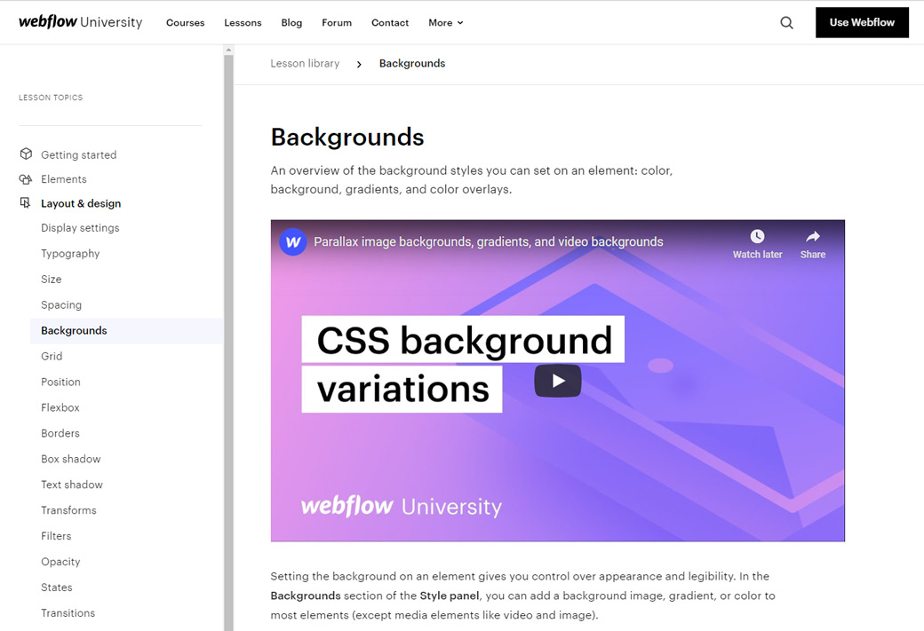 Webflow Lesson Library Example