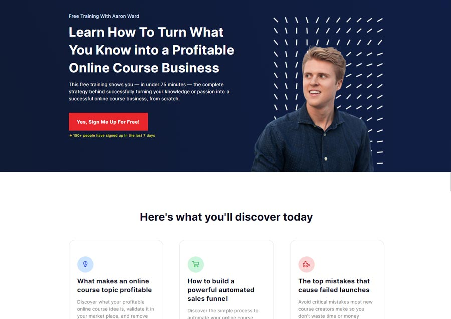 Example of a Webflow Landing Page
