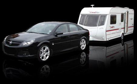 car towing caravan