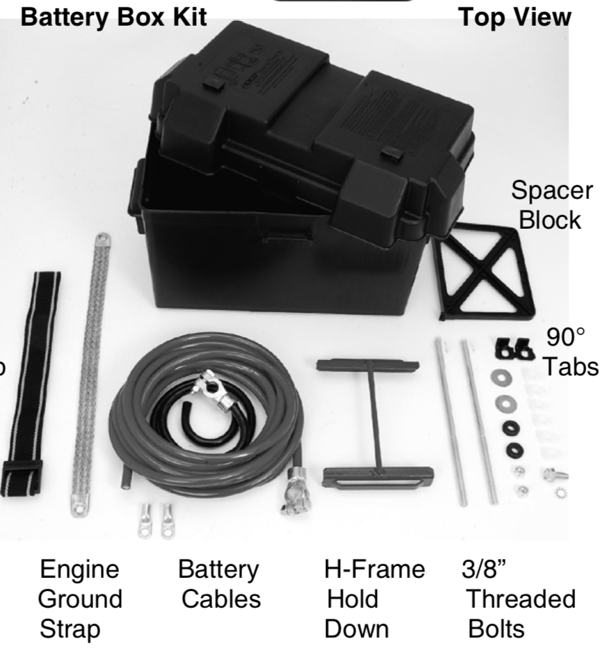 "The battery box kit top view including engine ground straps, battery cables, h-frame hold down 3/"" threaded bolts, spacer block, and 90 degree tabs"