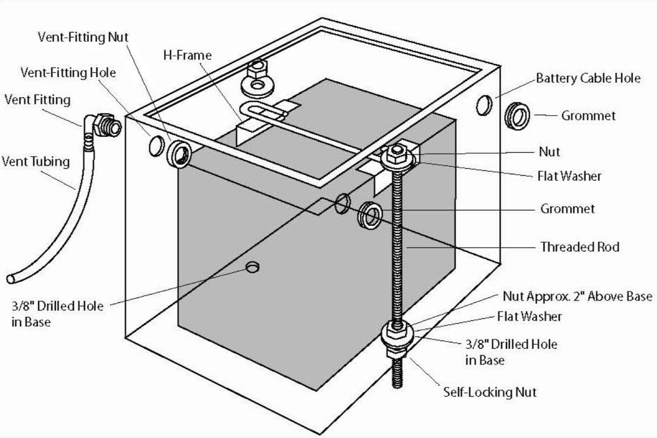 Diagram of aluminum battery box kit parts and assembly