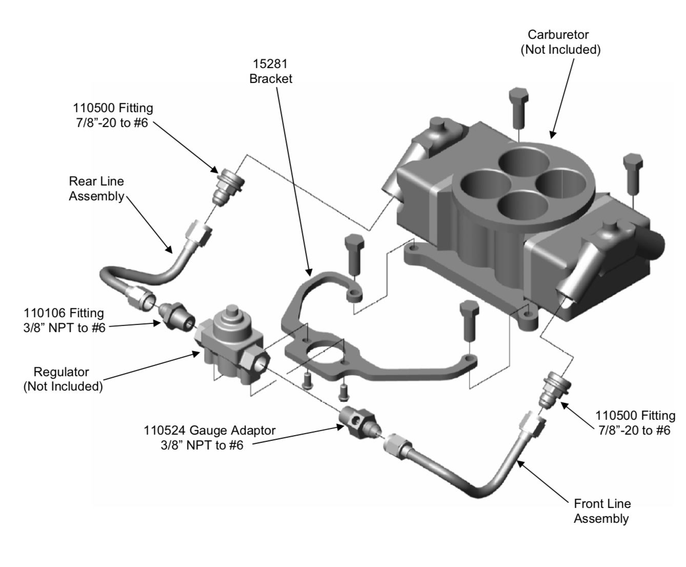 diagram showing the parts of the steel hard line kit