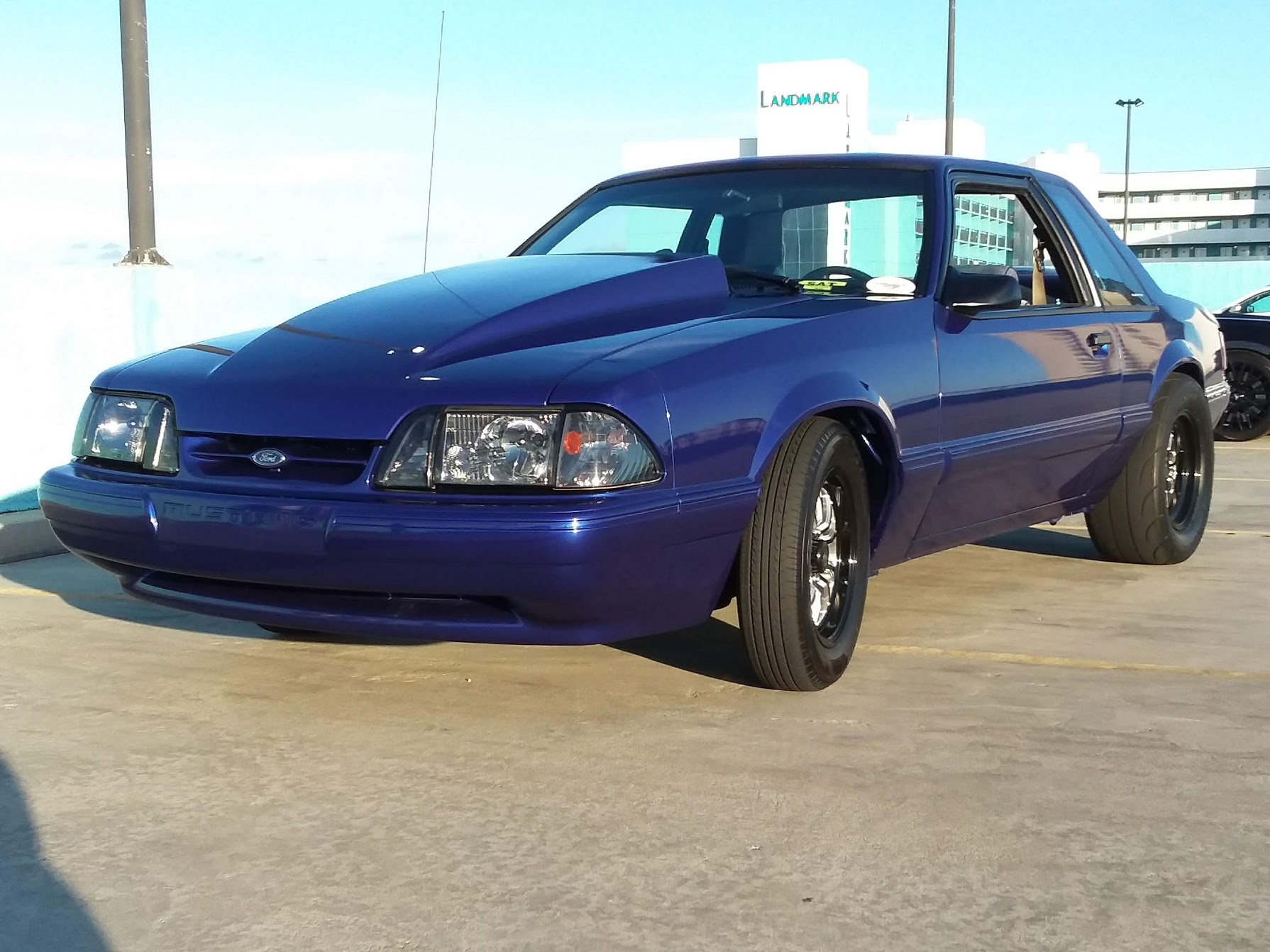 1987 blue ford mustang