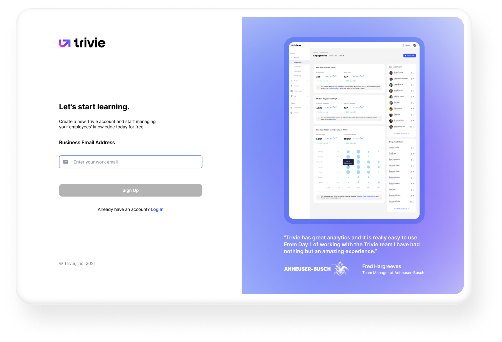Sign-up page for the Trivie adaptive training, microlearning, knowledge retention, and gamified training platform.