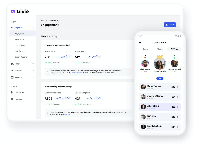 Trivie UI Reports