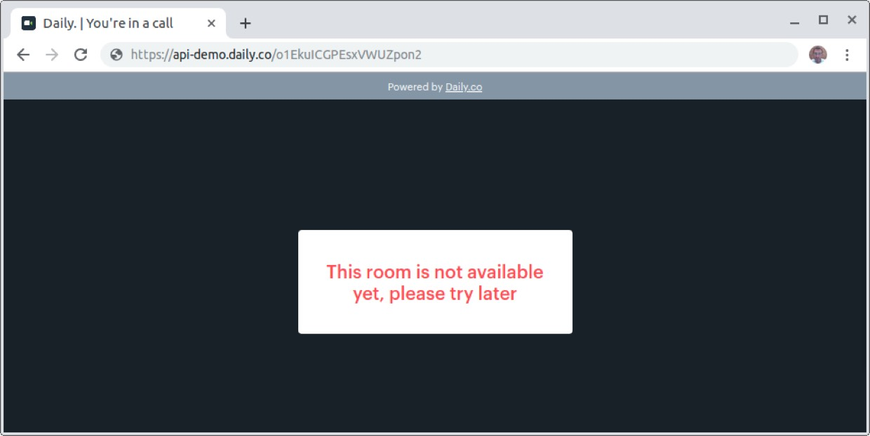 Daily.co API room not available warning