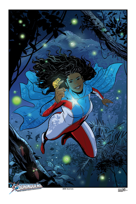 Superhero La Borinqueña flying through rainforest with glowing fireflies