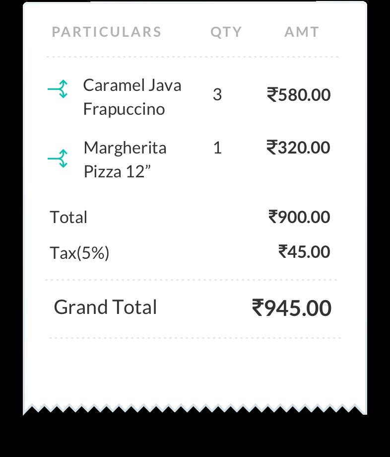 Restaurant Receipt Digital Billeasy