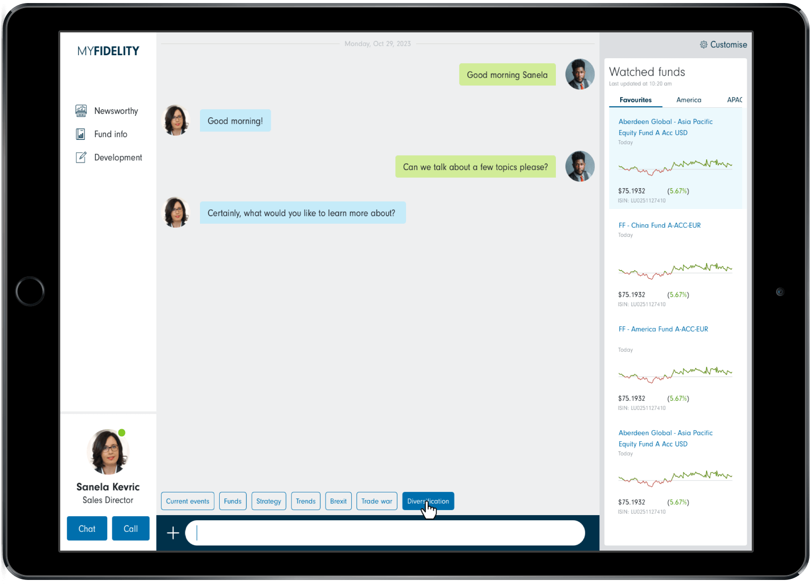 5 years into the future mock up on tablet - chat interface
