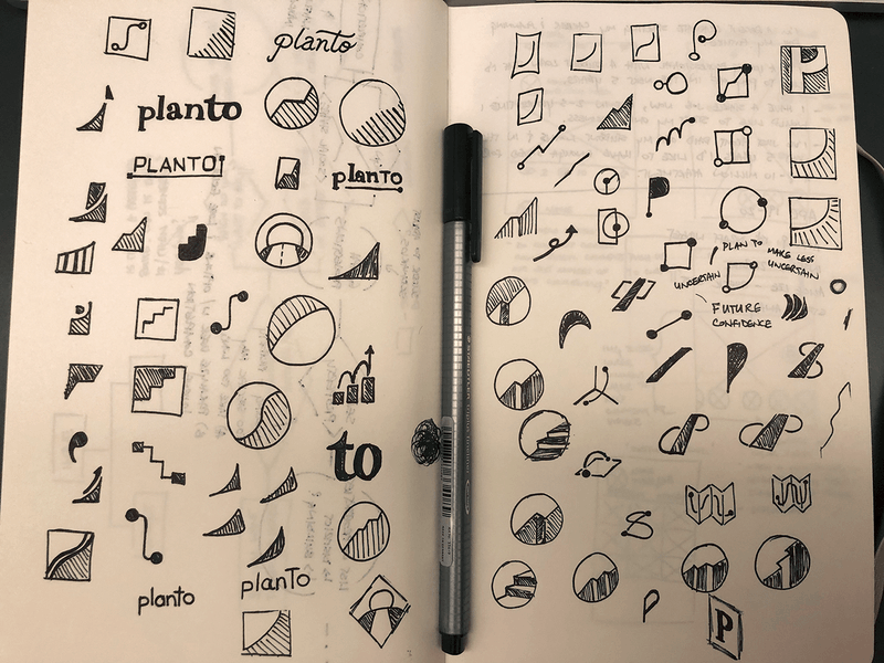 Rough sketches of the Planto logo