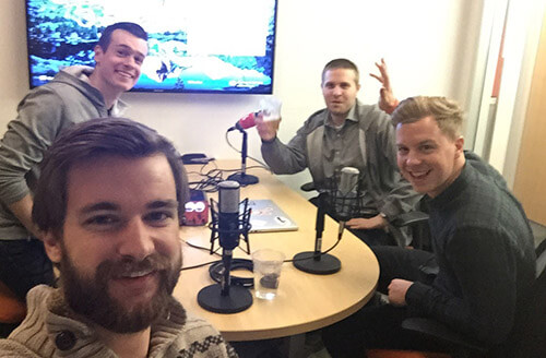 Photo of Austin recording an episode of the UX & Growth Podcast with Matt and Geoff