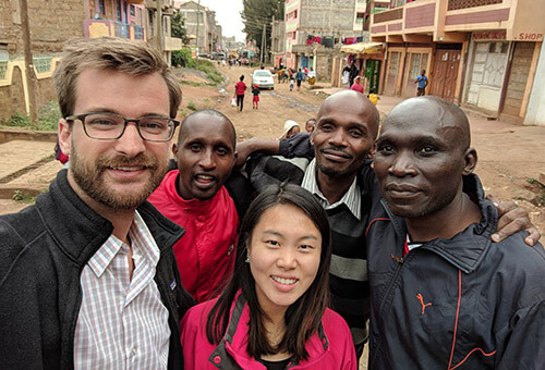 Photo of Austin with his research team in Kenya