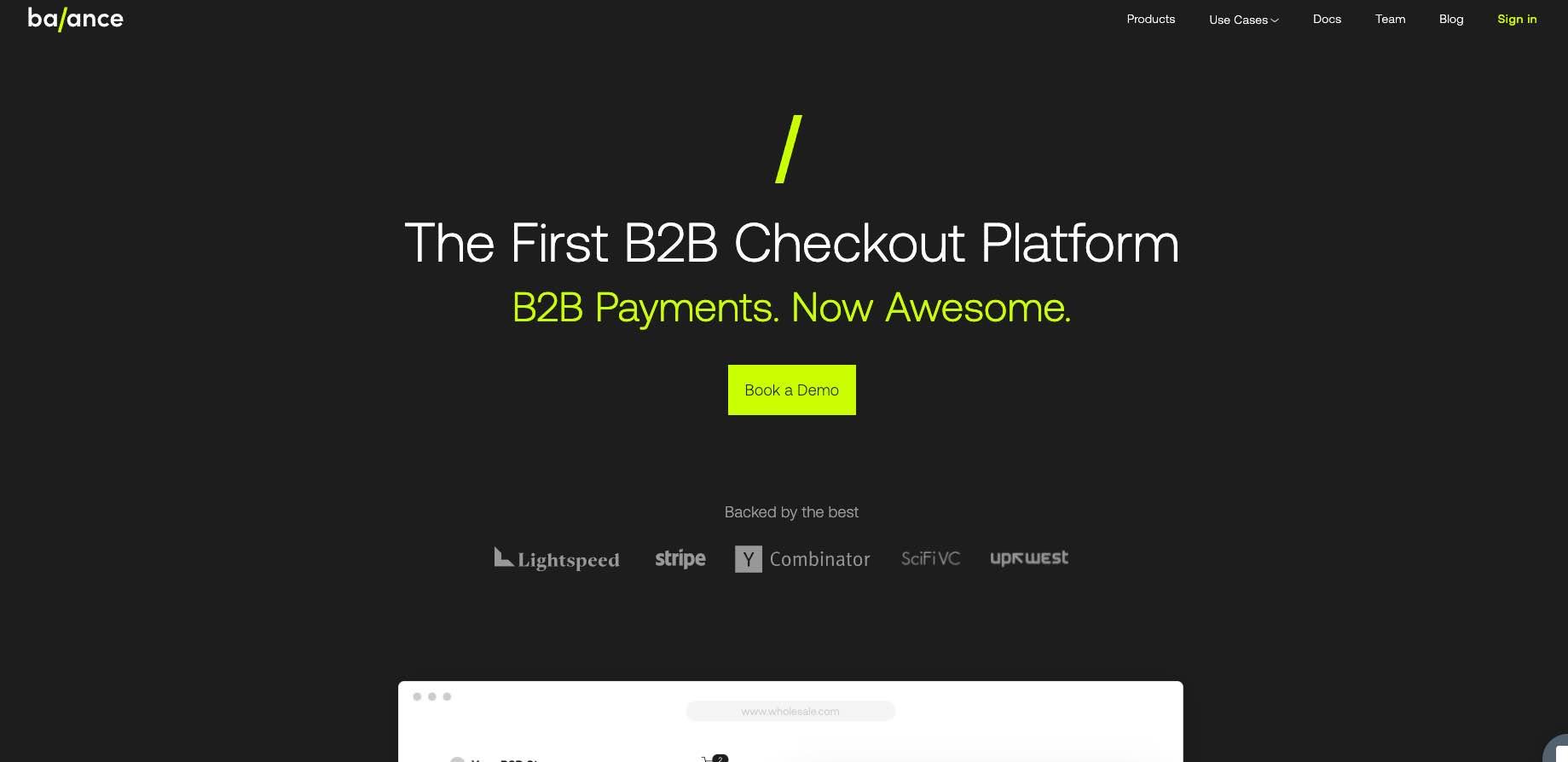A Fintech startup Named Balance   - website design development in webflow