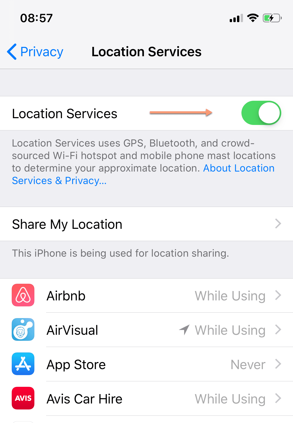 iphone location tracking setting