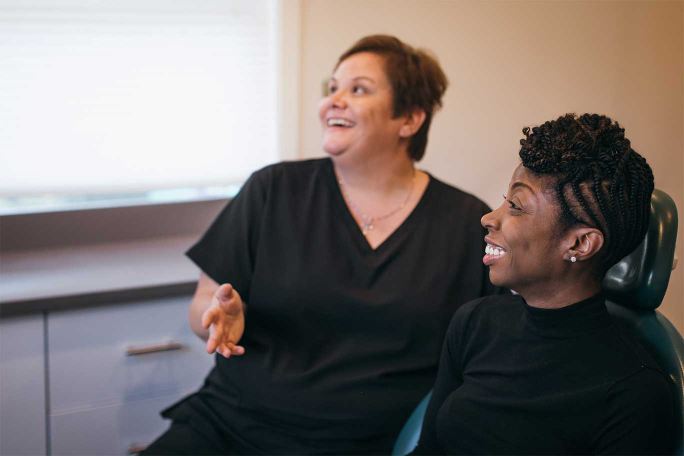 Photo of a female patient and team member