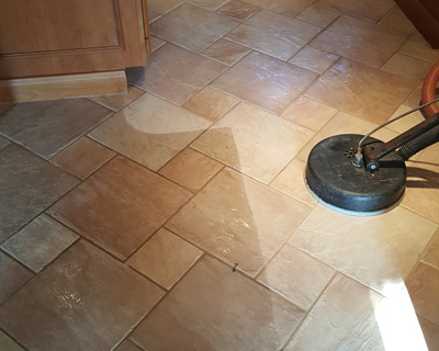 Tile floor before and after