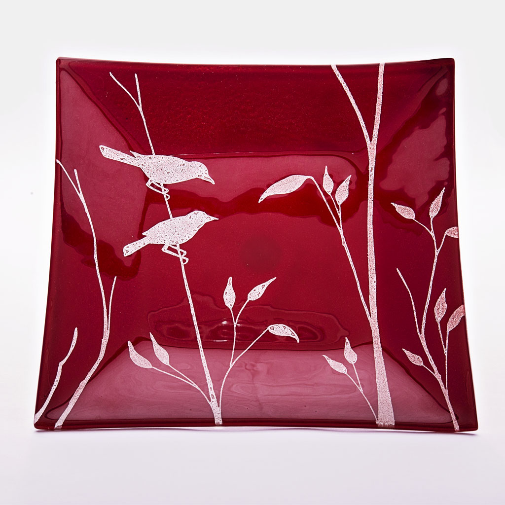 Bayede! Red Square Glasswear with birds