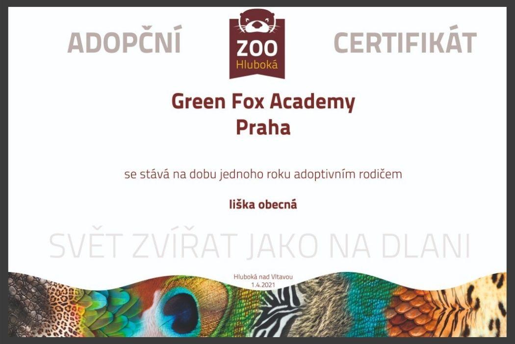 adopční certifikát lišek pro green fox academy
