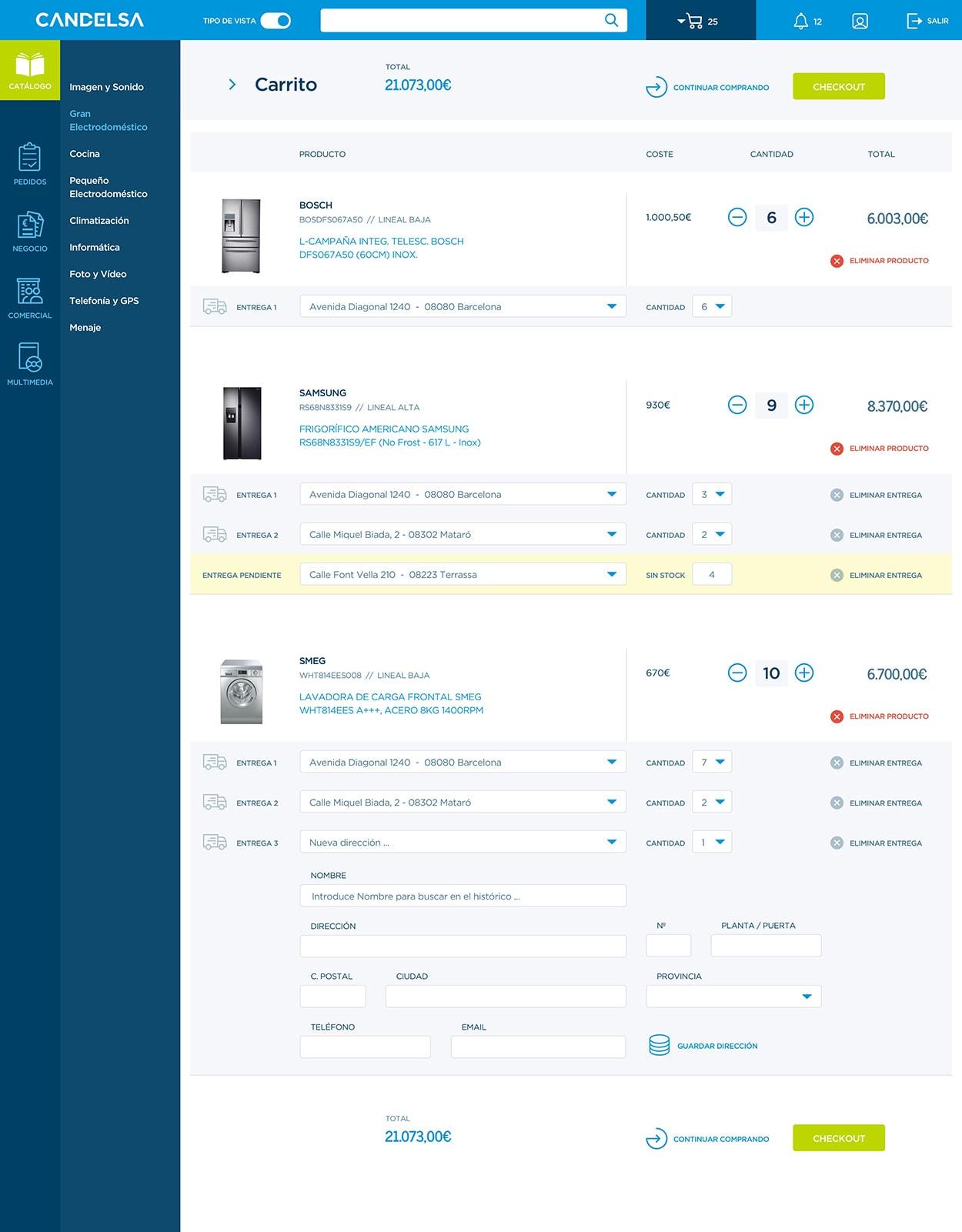Candelsa checkout screen