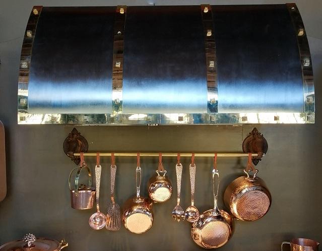 Custom Brass Range Hood by Amoretti Brothers