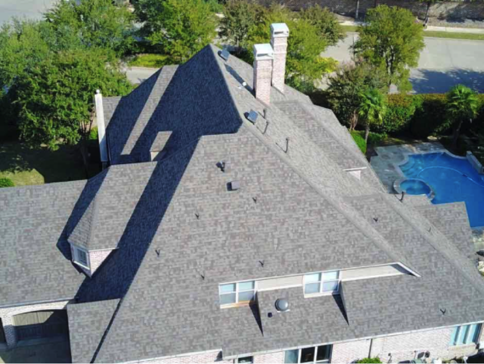 Gray roof of home in Dallas, tX