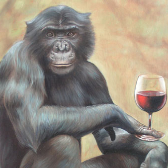 gorilla holding a glass of wine