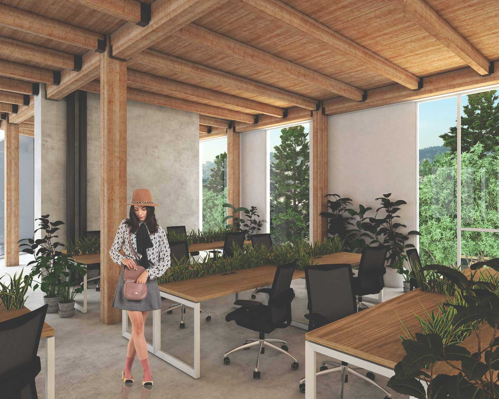 a render of the office interior design