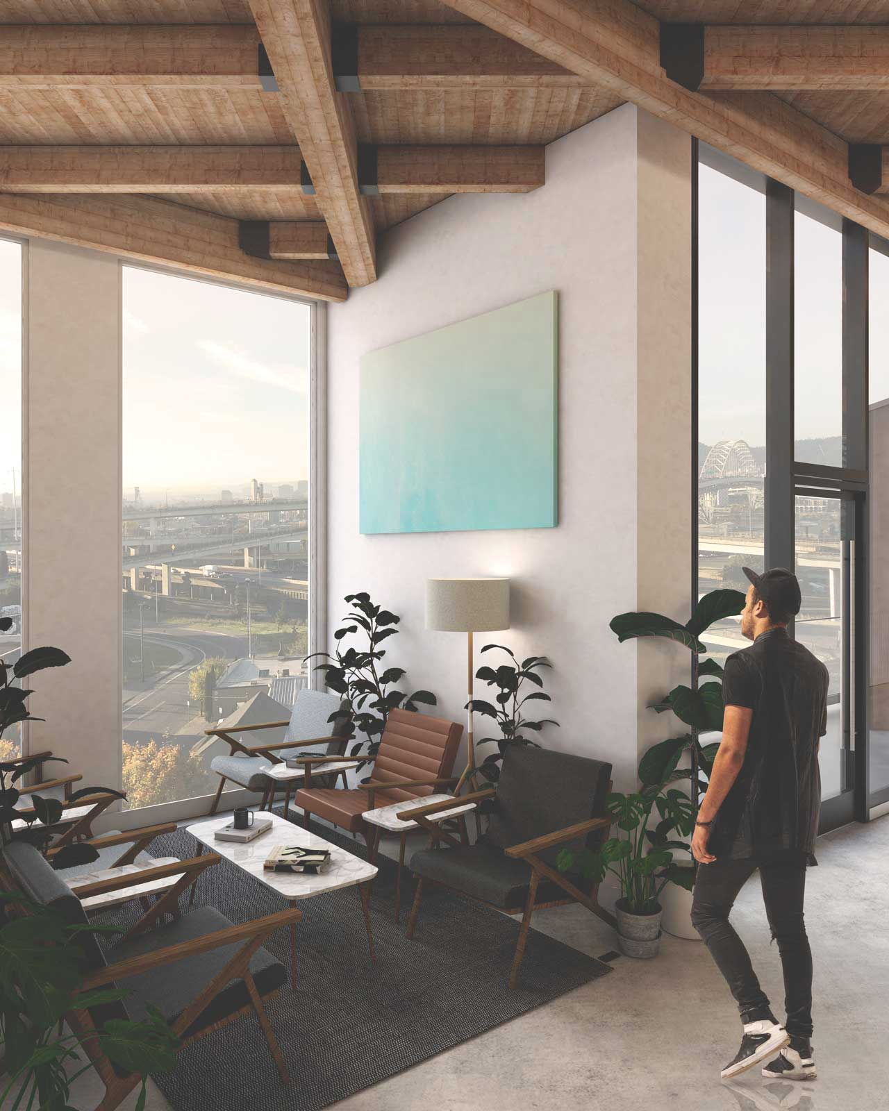 a render of the office interior and view of the city