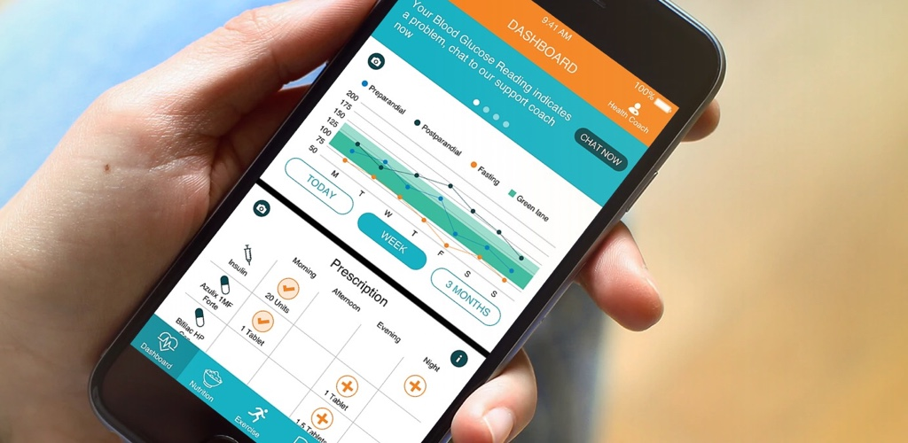 An image shows the Diabetacare app. Milo Creative creates health tech solutions such as mobile self-management tools and smart monitors to help people take control of their health. Diabetacare helps diabetes patients manage their condition, as the mobile touchpoint of a 24/7 diabetes service.