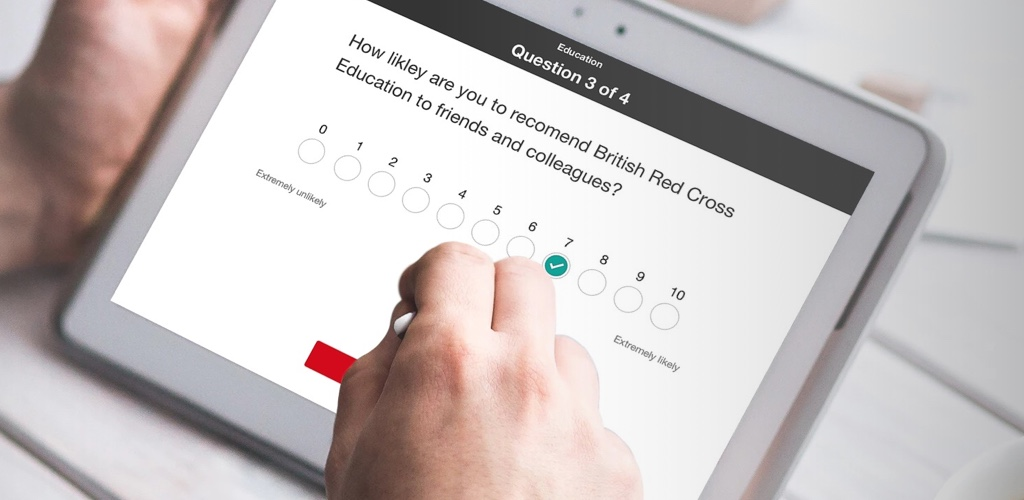 An image shows The British Red Cross Service User Feedback survey app. This app is part of The British Red Cross digital transformation strategy, and it aims to provide a more immediate way for their staff to provide feedback on training courses.