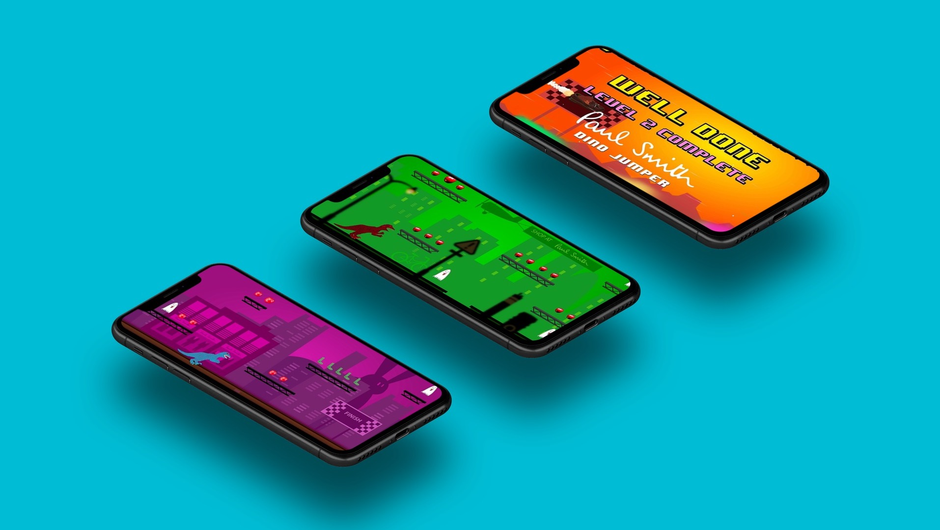 Paul Smith Dino Jumper - As mobile game developers we created a game, to be downloaded from the Apple Store and Google play for free. We used aesthetics reminiscent of old arcade games, based on the fantastic designs from the textiles. We created a fast paced, 2D side scrolling, endless runner game in Unity.