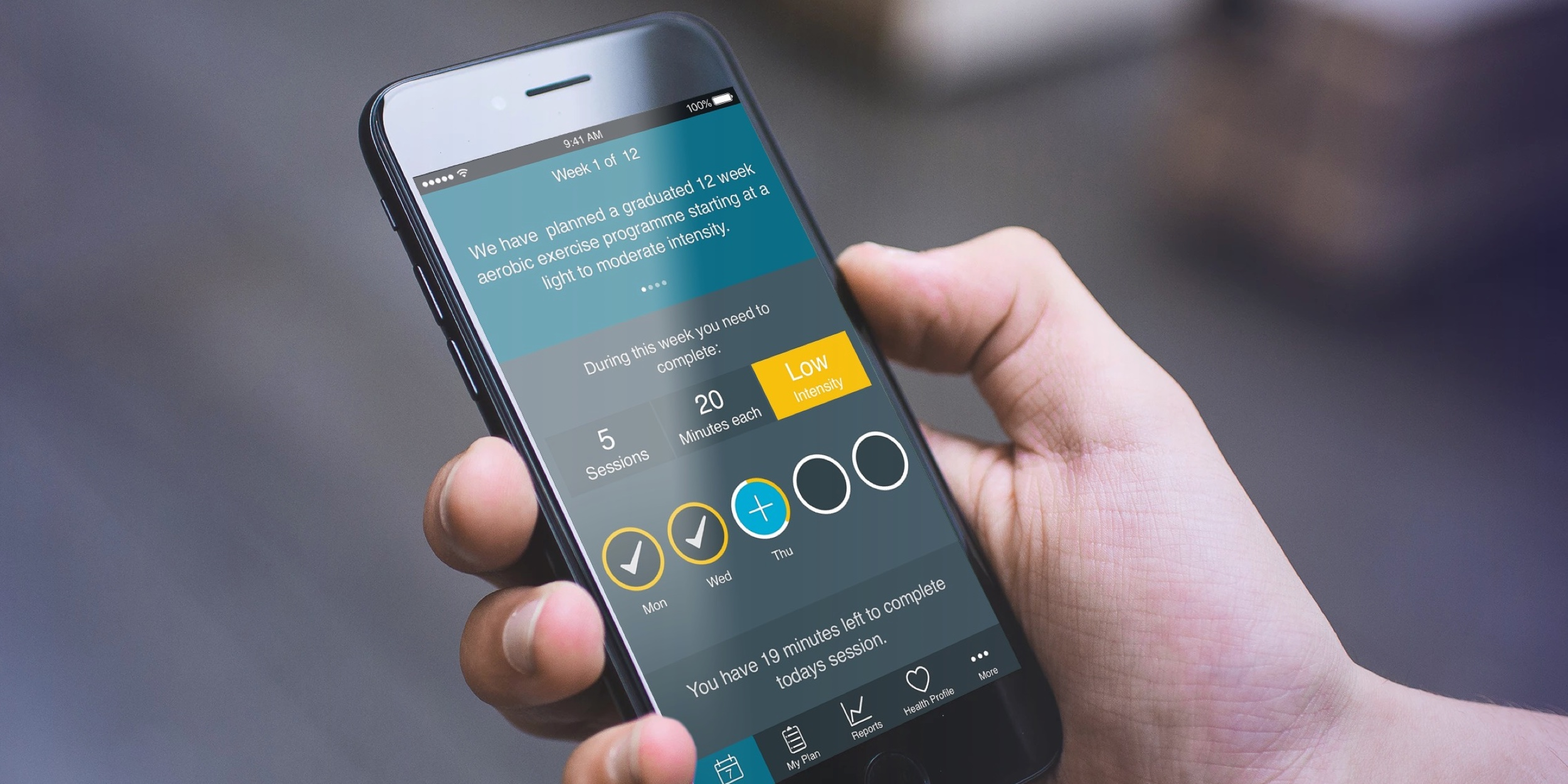As React Native app development specialists, we were engaged to design and develop the iPrescribe app. This health technology app delivers a personalised physical activity programme for people with various conditions, from mild asthma to cancer. The app contains tools to allow users to exercise safely, with an algorithm that incrementally modifies their routine as their fitness increases, while providing visual feedback and motivation to carry on.