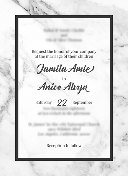 Wedding invitation in black and white with a marble background