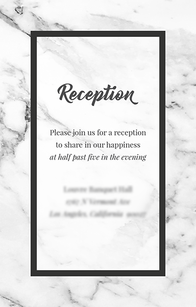Reception invitation in black and white with a marble background