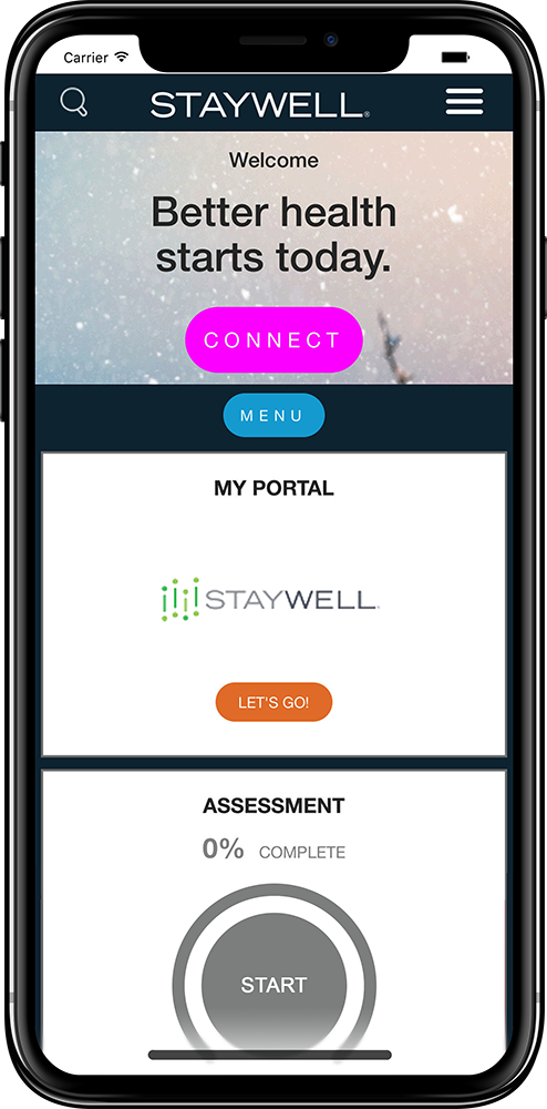 Mock-up of StayWell mobile app from 2017