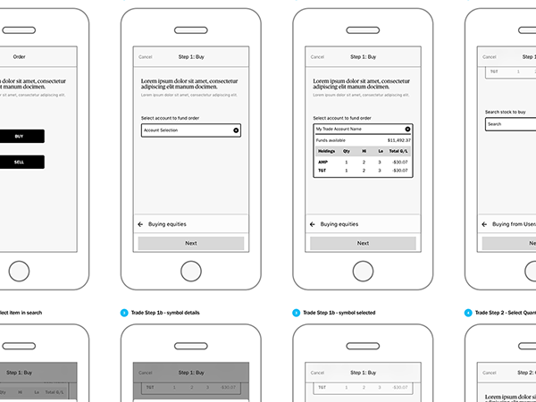 Wireframe of Ameriprise trading mobile app version 3