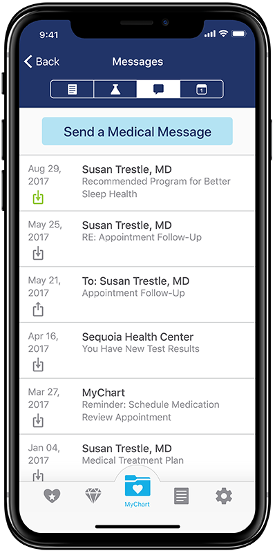 Mock-up of medical messaging screen in the new StayWell app concept