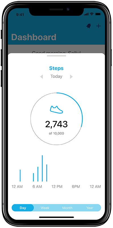 Mock-up of steps tracking screen in the new StayWell app concept