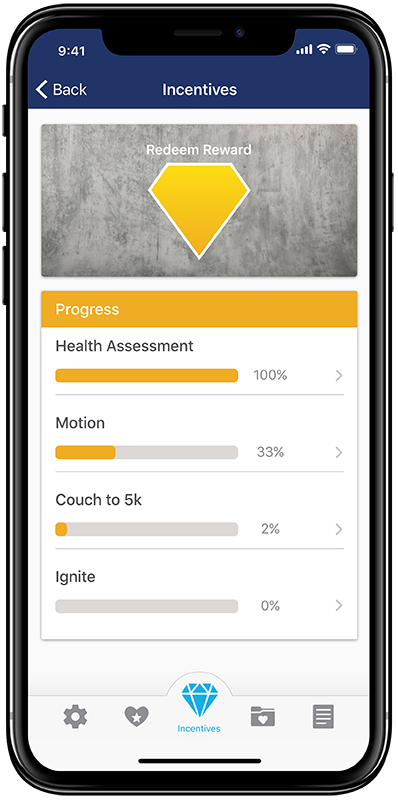 Mock-up of incentives progress screen in the new StayWell app concept