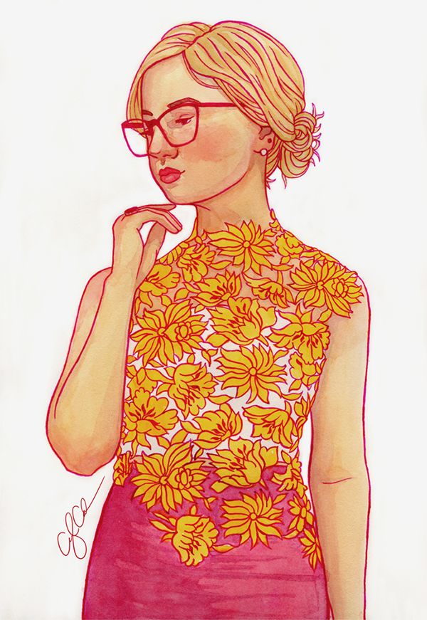 An illustration of a pensive woman with large glasses, wearing a cutout floral shirt and pink skirt.