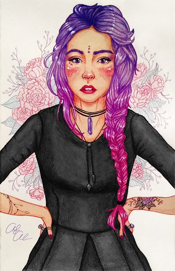 A girl wearing a little black dress with her hands on her hips. She has purple and pink ombre hair and violet eyes. Peonies are in the background.